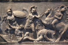 Picture of a Greek marble sarcophagus showing Amazon battle