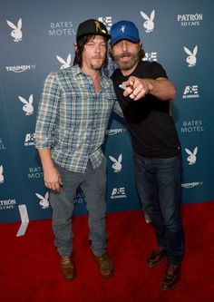 "Norman Reedus Actors Norman Reedus and Andrew Lincoln arrive at the Playboy and A&E ""Bates Motel"" Event During Comic-Con Weekend, on July 25..."