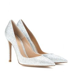 Gianvito Rossi - Glitter pumps - Get your fix of glitz courtesy of these Gianvito Rossi pumps. The point-toe style is swathed in silver glitter for a party-perfect finish. Let them add a touch of sparkle to little black dresses or pretty printed separates. seen @ www.mytheresa.com