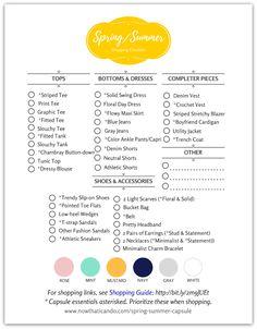Spring/Summer Capsule Wardrobe Checklist