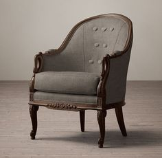 Barrel-Back Upholstered Swan Chair - Antiqued Black Walnut Leather Dining Room Chairs, Living Room Chairs, How To Restain Wood, Swan Chair, Victorian Chair, Toddler Table And Chairs, Sofa Upholstery, Restaurant Chairs, Barrel Chair