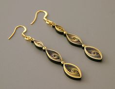 Make simple gilded earrings #quilling