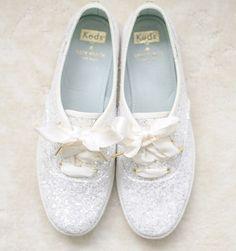 Comfy AND oh-so-cute sparkly #weddingshoes! #weddingideas {Photo: @priscillathomasphoto}