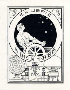 ≡ Bookplate Estate ≡ vintage ex libris labels︱artful book plates - by Ephraim Moses Lilien (1874-1925) for Wilhelm Mertens, c. 1900