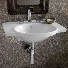 Veneto Wall-Mounted Lavatory.  Also available with arced towel bar in front.   $570 list.