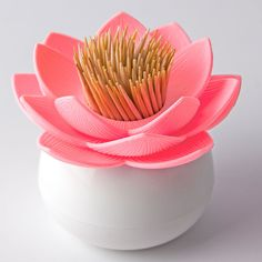 Lotus Pick Toothpick Holder (Pink) by Qualy