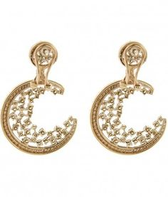 14K Rose Gold Diamond Crescent Moon Drop Earrings