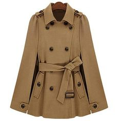 Yoins Camel Double Breasted Cape Coat With Belt (€73) ❤ liked on Polyvore featuring outerwear, coats, jackets, coats & jackets, yoins, khaki, cape coat, double breasted leather coat, brown cape and belted coat