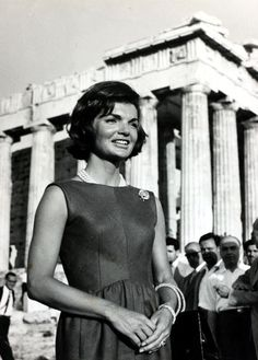 First Lady Jacqueline Kennedy pictured at the Acropolis during a visit to Greece, 1961