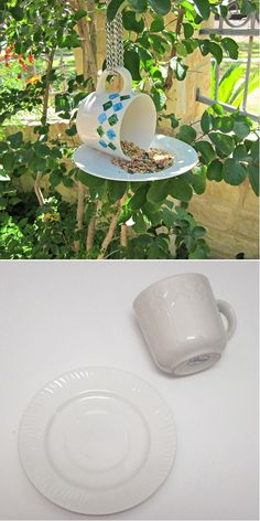 Make a Bird Feeder with Cups and Saucers