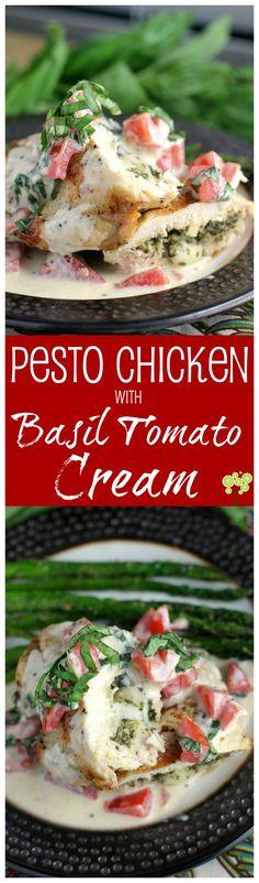 Pesto Chicken with Basil Tomato Cream from EricasRecipes.com