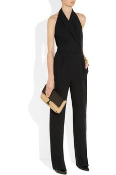 Valentino                                  Silk and wool-blend halterneck jumpsuit                              $3,490  Valentino's silk and wool-blend jumpsuit is inspired by tuxedo tailoring. We love how the exposed back keeps this masculine-inspired design feminine. Accent with a statement cuff for a refined after-dark look.    Shown here with: Hervé Van der Straeten cuff, Lanvin shoes, Chloé bag.