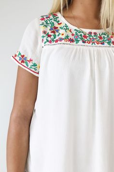 Floral Embroidered Top   ROOLEE