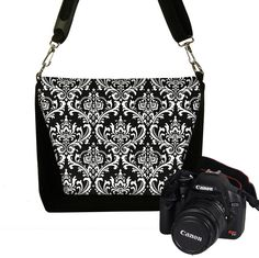 Damask Digital Slr Camera Bag for Women Nikon Dslr Camera Bag Purse Deluxe Model Black White. $79.99, via Etsy.