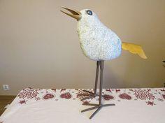 hand made bird (granite and steel painted twice