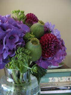 Poppy Pod Floral Arrangement in Vase  (Hydrangea, Scabiosa, Dahlia, Sedum, & Allium Flower Arrangements)