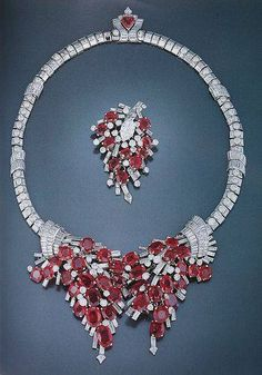 Cartier London Art Deco Ruby Necklace and Pin 1938 by Clive Kandel. Cartier Jewelry, Ruby Jewelry, Diamond Jewelry, Antique Jewelry, Vintage Jewelry, Jewelry Necklaces, Fine Jewelry, Jewlery, Diamond Necklaces