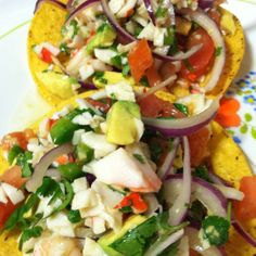 This recipe works great as an appetizer or a main meal. You can make it with 1 lb shrimp instead of half shrimp/half crab.You can serve it with chips, over lettuce, or our personal favorite: on a quick tostada. - Shrimp and Crab Ceviche