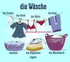 Wäsche Deutsch Wortschatz Grammatik German DAF Alemán Vocabulario