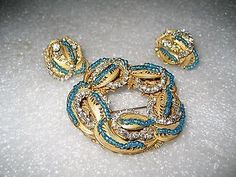 Vintage Signed Miriam Haskell Rare Large Gold Filigree Circle Brooch  & Earrings