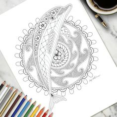 Adult Colouring Page Dolphin And Frangipanis Is An Original Drawing By Jenny Gollan Grab Your