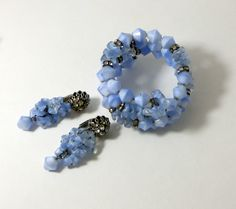 Miriam Haskell Early Blue Givre and Art Glass Wrap Bracelet Earring Set
