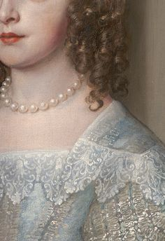 Anthony van Dyck, Princesse Mary 1637 (daughter of Charles I) detail