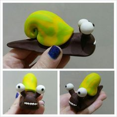 Sculpey Citrus snail polymer clay fimo