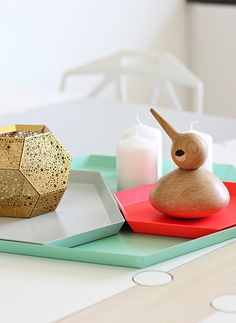 Hay trays, Etch candleholder by Tom Dixon, Bird by Architectmade, love that combo Tom Dixon, Beautiful Interiors, Colorful Interiors, Deco Rose, Boutique Deco, Geometric Decor, Pretty Pastel, Nordic Style, Danish Design
