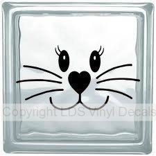Bunny Rabbit Face - Easter Vinyl Lettering for Glass Blocks - Craft Decals by LDSVinylDecals on Etsy https://www.etsy.com/listing/219058761/bunny-rabbit-face-easter-vinyl-lettering
