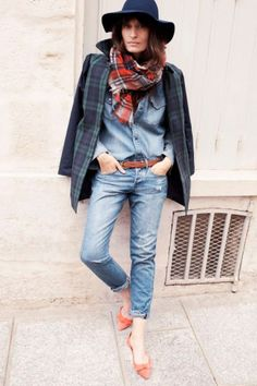 Caroline de Maigret for Madewell, plaid blazer, plaid scarf, denim shirt, jeans, fedora, flats