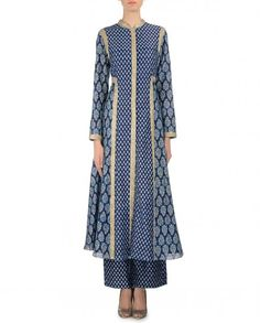 Block Printed Indigo Blue Anarkali Dress - Zoraya - Designers