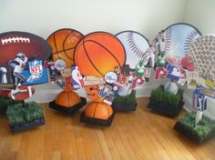This family is selling their sports themed Bar Mitzvah centerpieces.