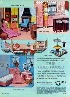1963 OR 1964 Sears Christmas Wishbook Wish Book Catalog - Clone 3 - Room Doll House Playsets - with Living Room, Kitchen, Bedroom and Patio plus furniture - fits Barbie and Ideal Tammy Sears Toys, Tammy Doll, Modern Art Deco, Doll Toys, 60s Toys, Sindy Doll, Barbie Accessories, Vintage Barbie Dolls, Barbie Furniture