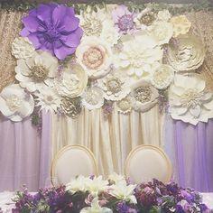 #ido #draping #chairdivas #paperflowers #paperflowerbackdrop #bride #sweethearttable #gardentheme #lavenderandchampagne #florals #reception @chairdivas @nonatai