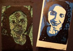 Create Art With Me!: My own art? Say WHAT!?! self portrait using foam meat trays as plates.
