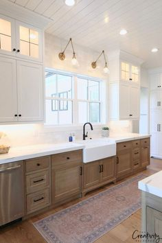 Love the wood lower cabinets with white upper cabinets, shiplap ceiling and lighting. Farmhouse, but Modern Farmhouse Kitchens, Country Kitchen, Home Kitchens, Rustic Kitchen, Copper Kitchen, Kitchen Modern, Farmhouse Ideas, Modern Farmhouse Lighting, Custom Kitchens