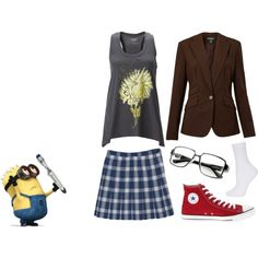 """Me, Margo, and the Doctor by awesomecake on Polyvore.  (I've just realised that I look like an older version of Margo from """"Despicable Me"""", who in turn looks like a young female version of the Tenth Doctor. Aww yeah!)"""