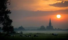 The sun rises on June 19 over Schalkwijk on what is expected to be one of the warmest days of the year. (Robin Van Lonkhuijsen/AFP/Getty Images)