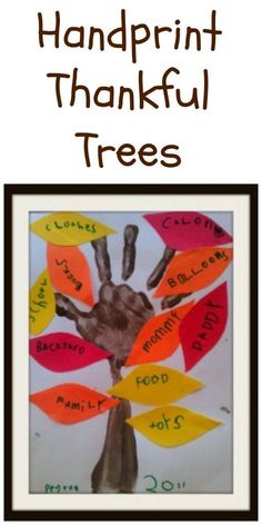 hand print thankful trees - autumn and fall craft for kids, thanksgiving craft for kids
