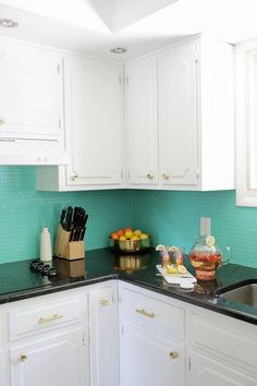 Painted tile backsplash (teal!)