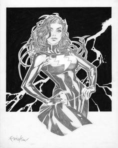 Original Comic Art Evil Mary Marvel by Franchesco DC 14x11 3/4 Char Pencils wInk   eBay