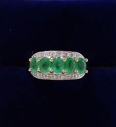 Five-Stone-Emerald-Ring-with-Diamonds-in-9ct-Yellow-Gold-Small-Size-K-1-2
