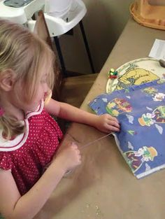 How-To Make A Girl Scout Sit-Upon - lace together pieces from vinyl tablecloths.