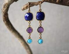 Lapis Lazuli Amethyst & Turquoise Earrings, Perfect Gift for Mothers Day by ATELIERGabyMarcos, $139.00