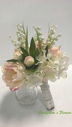 Silk Faux Flower Wedding Bouquet- Hydrangeas, Peonies and Lilies of the Valley Hydrangea Bouquet Wedding, Wedding Bouquets, Lily Of The Valley, Faux Flowers, Hydrangeas, Lilies, Peonies, Floral Arrangements, Glass Vase