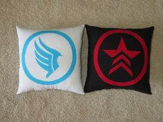 Mass Effect Morality Pillows by DistantAttraction on Etsy, $20.00