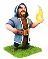 Dit figuurtje komt uit het spel clash of clans. Het is een tovenaar. Dit deed me denken aan Gandalf. Niet alleen omdat het een tovenaar is maar ook omdat hij in het blauw gekleed is.