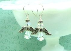 Angel crystal earrings Swarovski crystals by earringsbylulu, $12.00