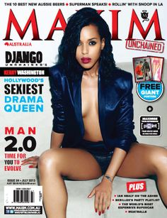 Kerry Washington causes a hot 'Scandal' on the July 2013 cover of Maxim Australia. On the cover, Kerry is wearing a shiny navy blazer an. Scandal, Maxim Magazine Covers, Maxim Cover, Pin Up, Olivia Pope, Kerry Washington, Thing 1, Drama Queens, Hottest Models